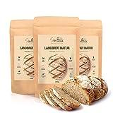 SlimBack - LOWER CARB LANDBROT Natur - 3er Pack - Brot Backmischung ohne Getreide für ca. 1,4kg Brot | Extra gut Bekömmlich | Eiweissbrot Glutenfrei | Keto - Paleo | Hergestellt in Deutschland
