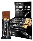 IronMaxx Zenith Riegel, Low Carb Eiweißriegel mit 50% Eiweiß, minimalen 3% Kohlenhydraten und nur 1,5g Zucker pro Riegel, Gewichtsreduzierung, Kraft- und Muskelaufbau, 12x85g, Erdnuss, 1.2Kg